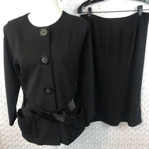Lafayette 148 Belted Jacket Two Piece Skirt Suit